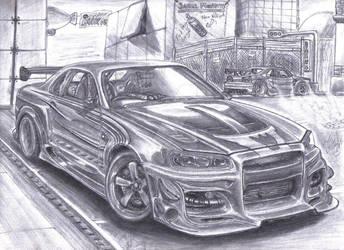 Nissan Skyline GTR34 StreetArt by Faik05