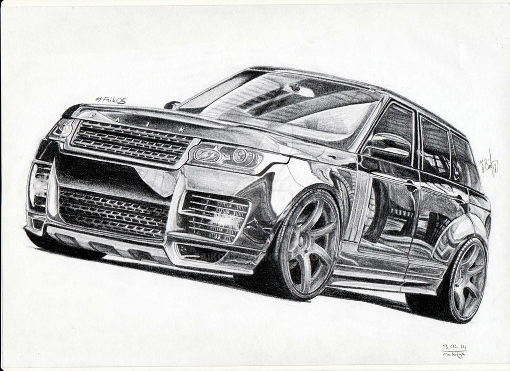 It is an image of Crush Range Rover Drawing