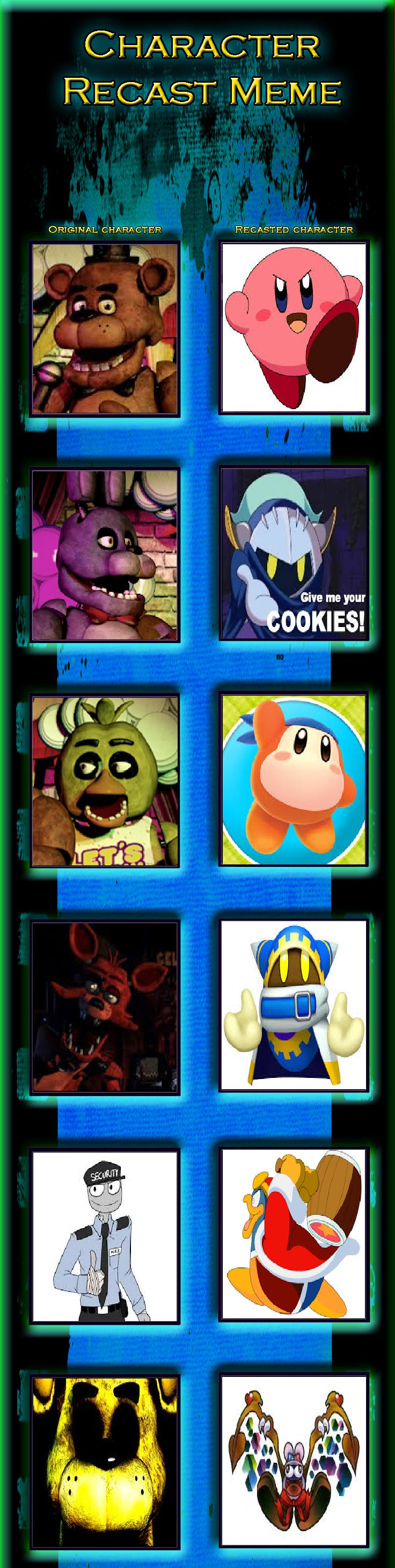 Five Nights At Kirby's Character Recast Meme by magolorandmarx