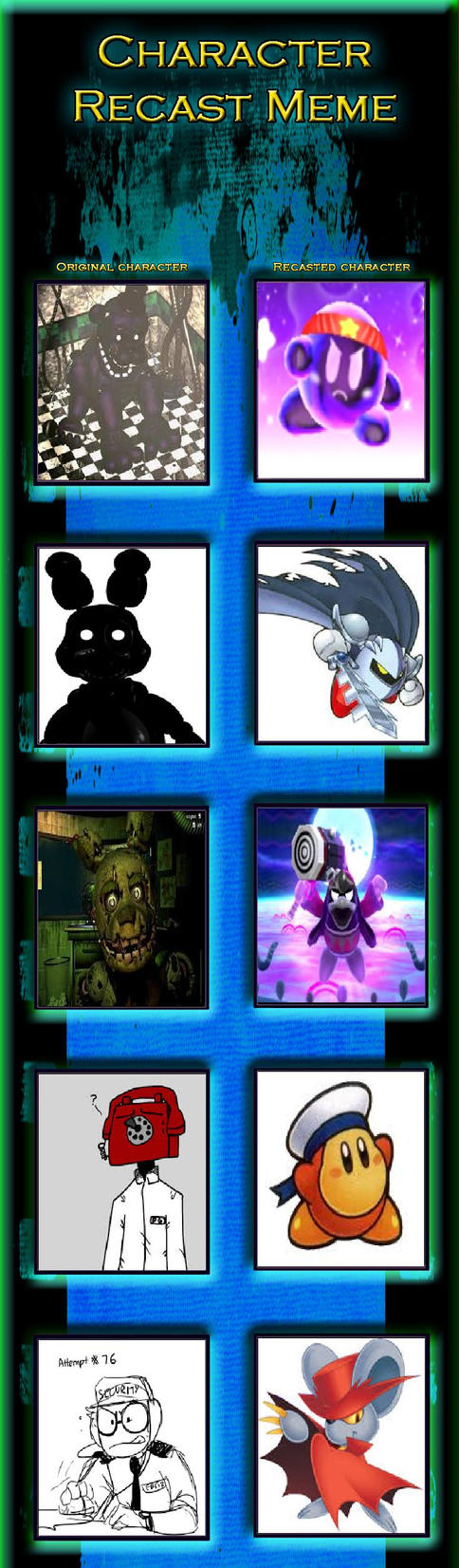 Five Nights At Kirby's Character Recast Meme 3 by magolorandmarx