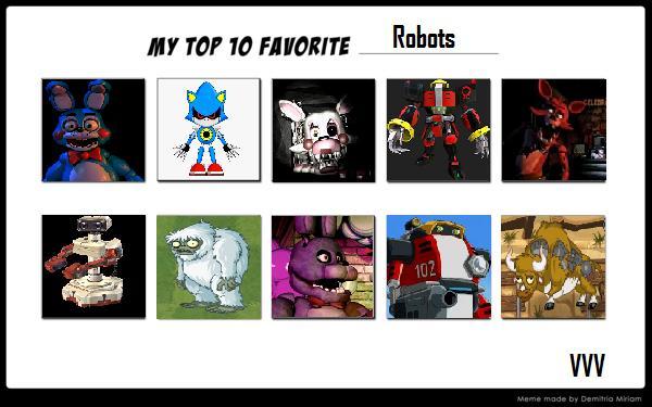 My Top 10 Favorite Robots meme by magolorandmarx