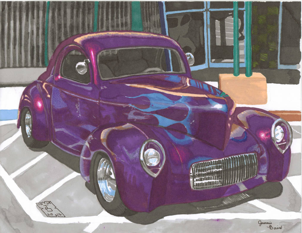 Purple 41 Ford Coupe in Prismacolor