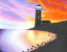 Sunset Lighthouse Prismacolor pencil and Sharpies