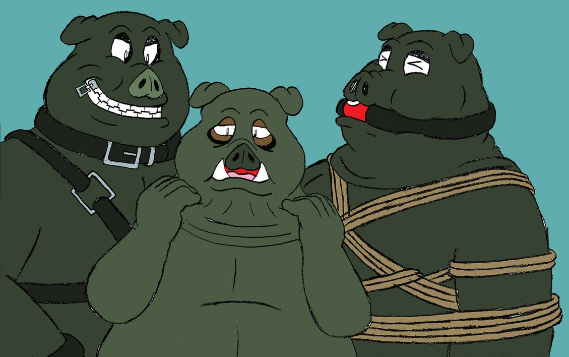 Trio BDSM Pigs by Hide-T-Revo