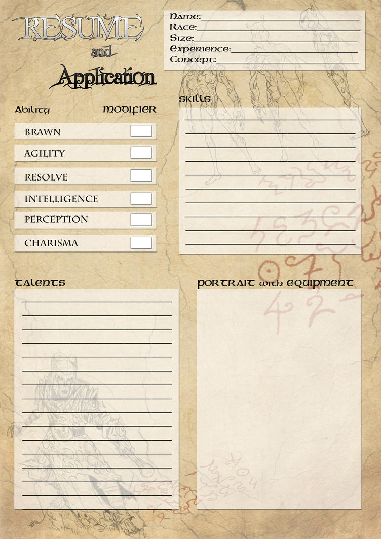 Resume Character Sheet By Bigberd On Deviantart