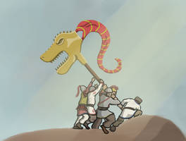 Draco over Iwo Jimus