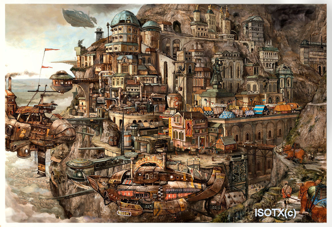 Steampunk pirate city