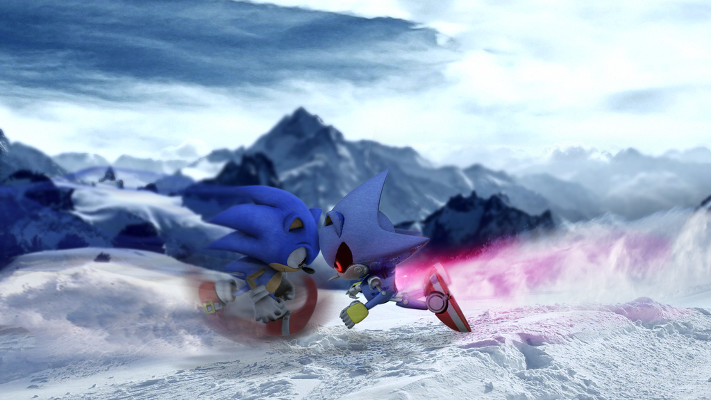 Classic Sonic VS Metal Sonic by mixlou