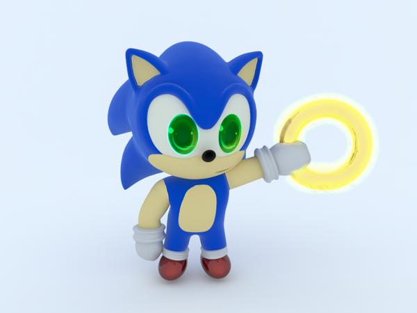Sonic 3D chibi by mixlou
