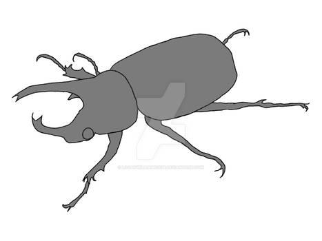 Rhino Beetle Line Art