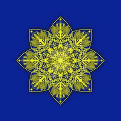 yellow and blue mandala