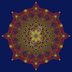 red, yellow, and blue Mandala