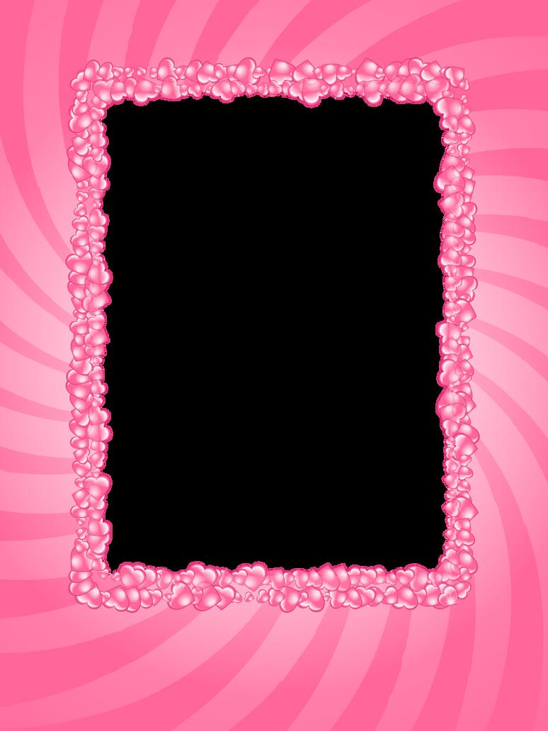 pink hearts valentine frame by flashtuchka