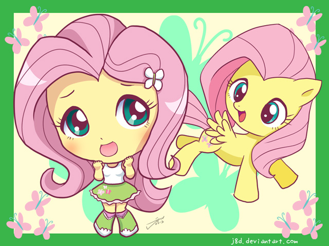 Equestria Chibi Girls: Fluttershy by J8d on DeviantArt