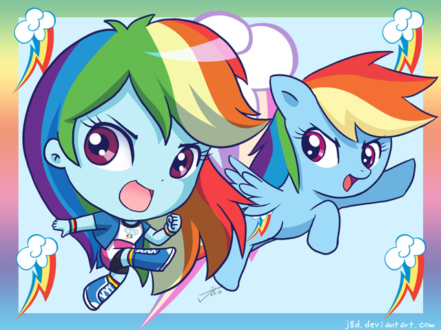 Equestria Chibi Girls: Rainbow Dash by J8d