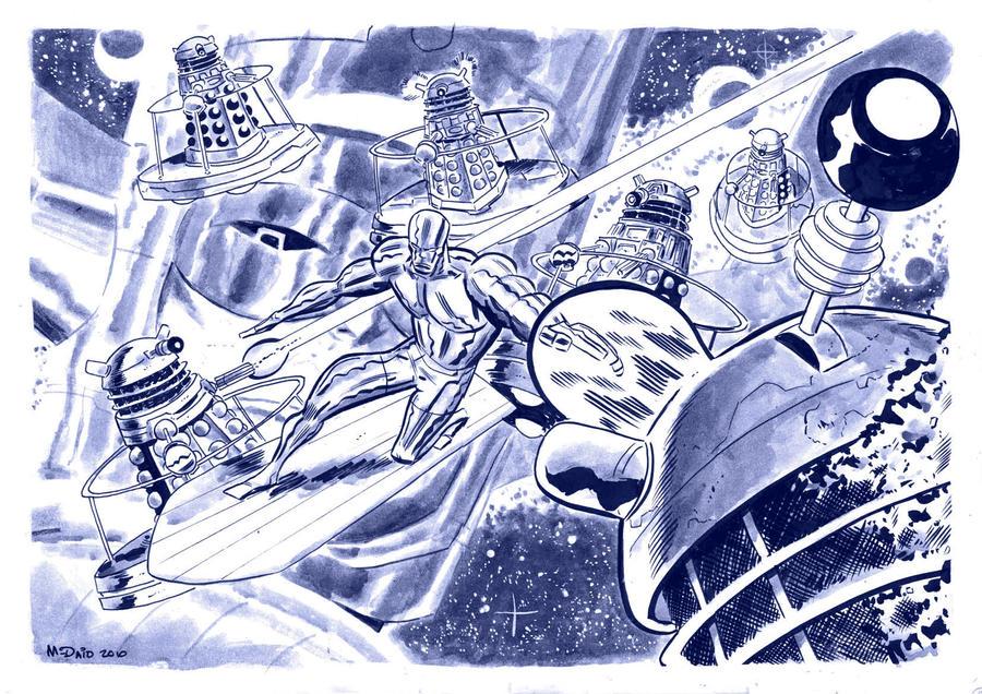 Silver Surfer vs the Daleks by danmcdaid