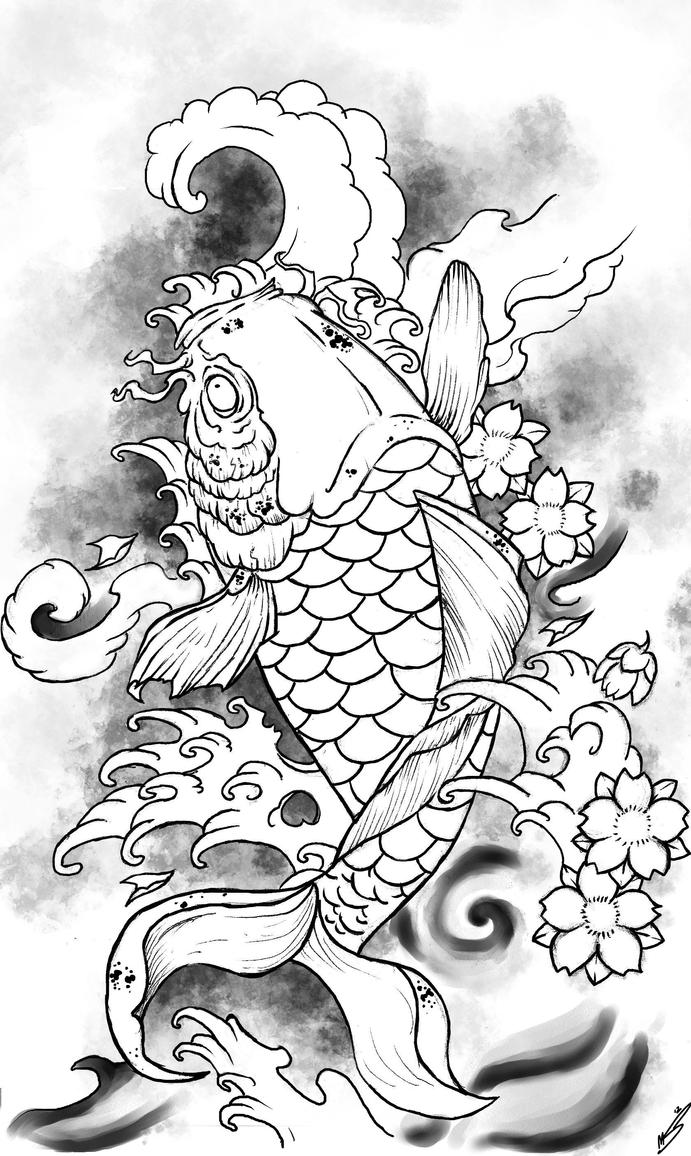 Printable coloring pages koi fish - Koi Fish By Funeralofhearts0