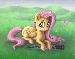 Fluttershy and her Oboe by SpeedLimit-Infinity