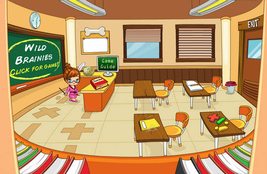 (F2U) Fantage Pet Academy Classroom Background