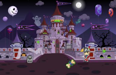 (F2U) Fantage Halloween 2017 Castle Background 1 by Fario-P