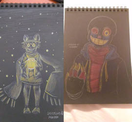 Black paper drawings by Mireby