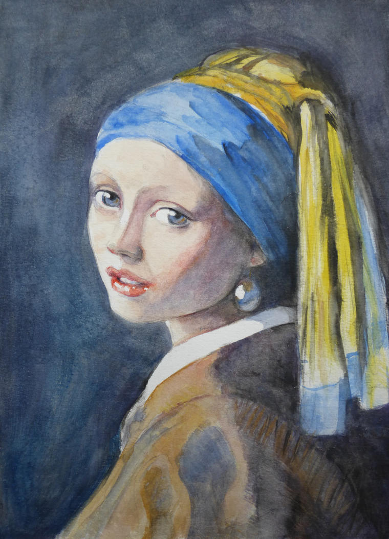 Portrait Of A Girl With The Pearl Earring By Annalobello