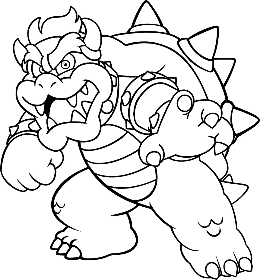 Mario And Luigi And Bowser And Bowser Jr - Free Coloring Pages