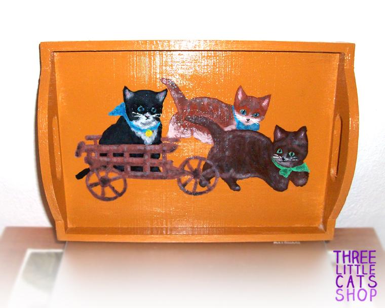 Vintage Cats handpainted wooden tray OOAK by DeadLulu