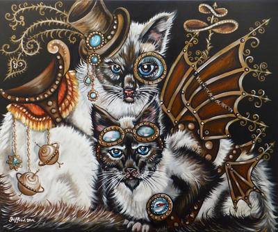 Steampunk cats by oliecannoligriffard