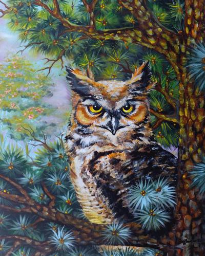 The great horned owl by oliecannoligriffard