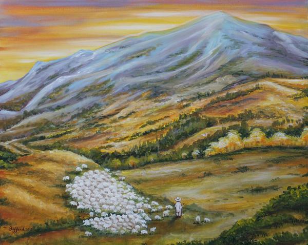 a sunset for a shepherd by oliecannoligriffard