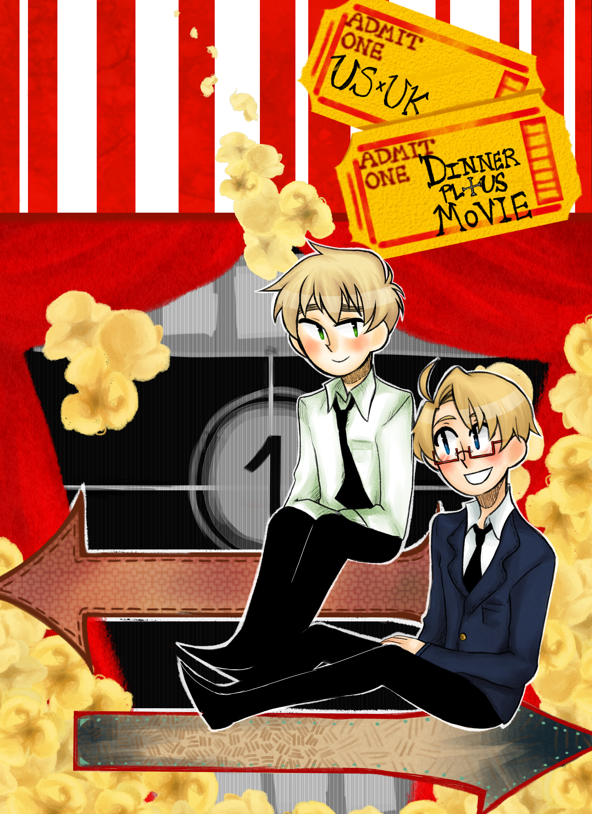 USUK Anthology Fanart-Dinner Plus Movie by Xxnarutogrl6xX