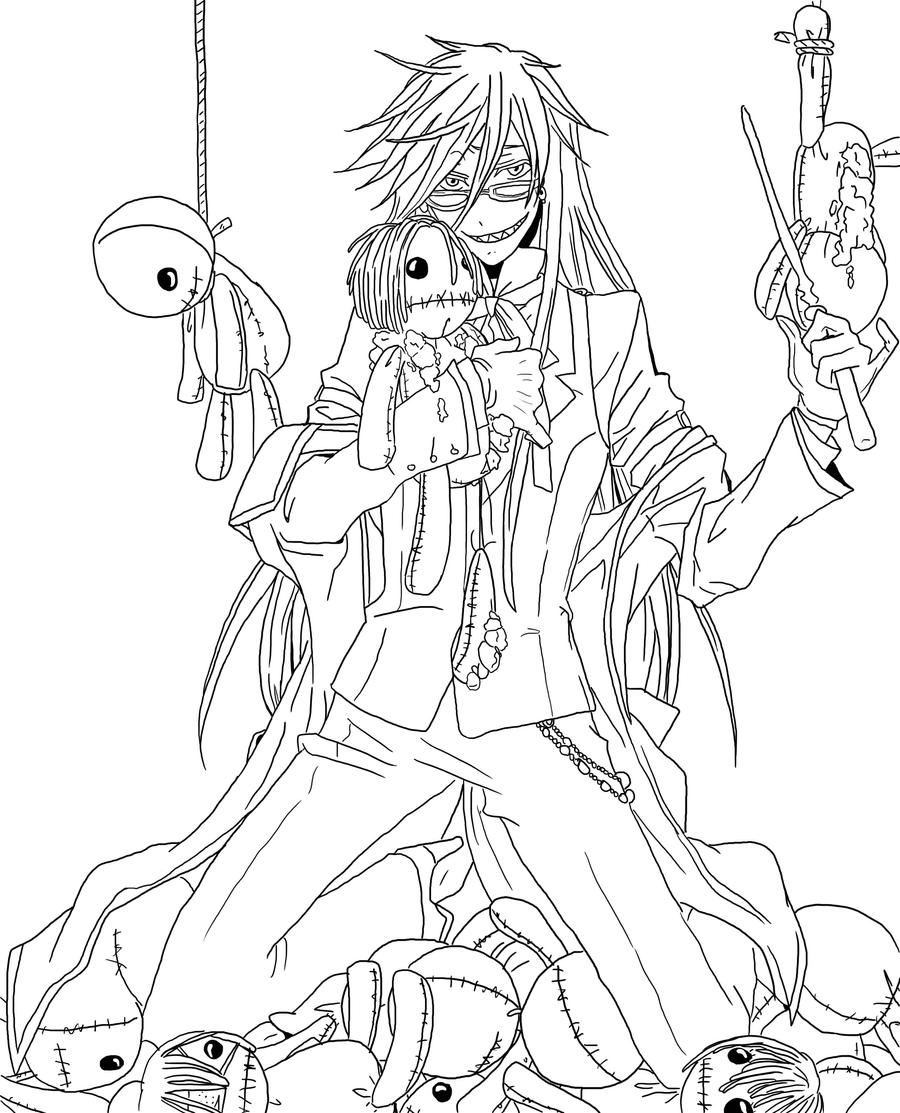 grell sutcliffe lineart by sweetlittlevampire black butler free coloring pages - Black Butler Chibi Coloring Pages