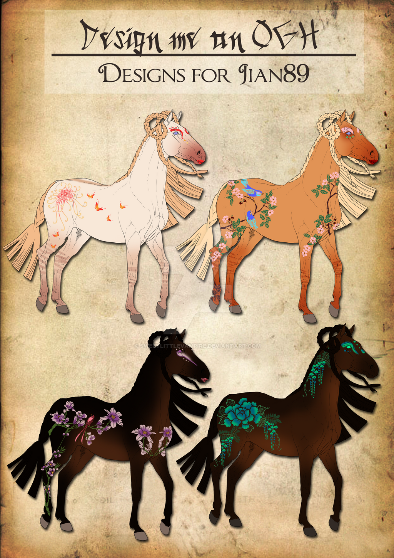 Oriental Geisha Horse Designs for Jian89 by SweetLittleVampire