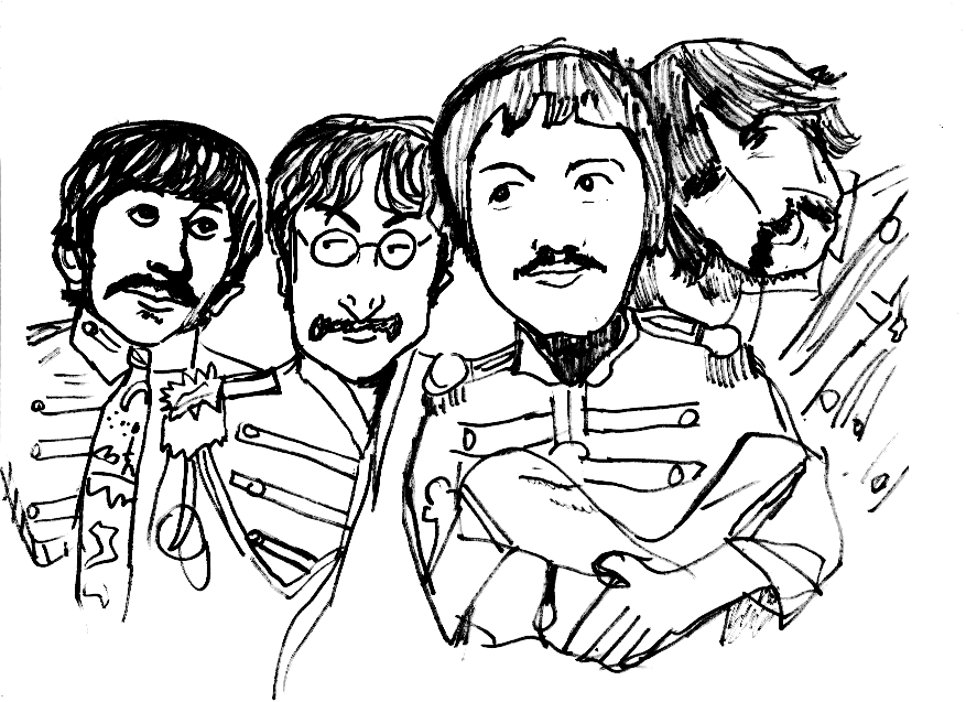 beatles sgt pepper coloring sketch coloring page - Beatles Coloring Book