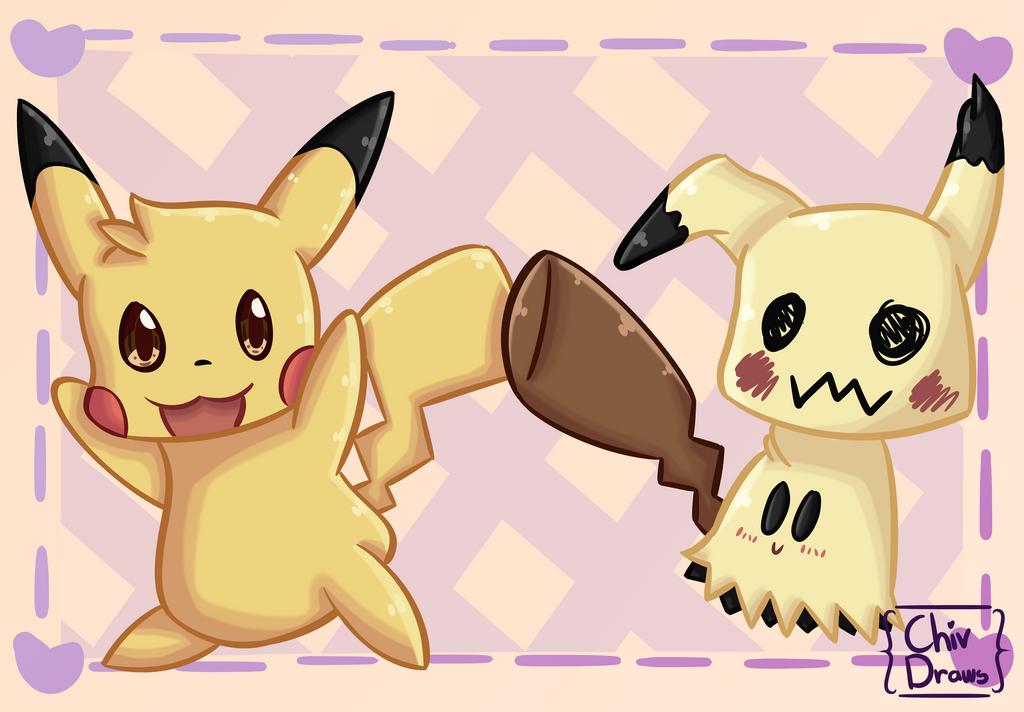 Mimikyu And Pikachu by ChivDraws