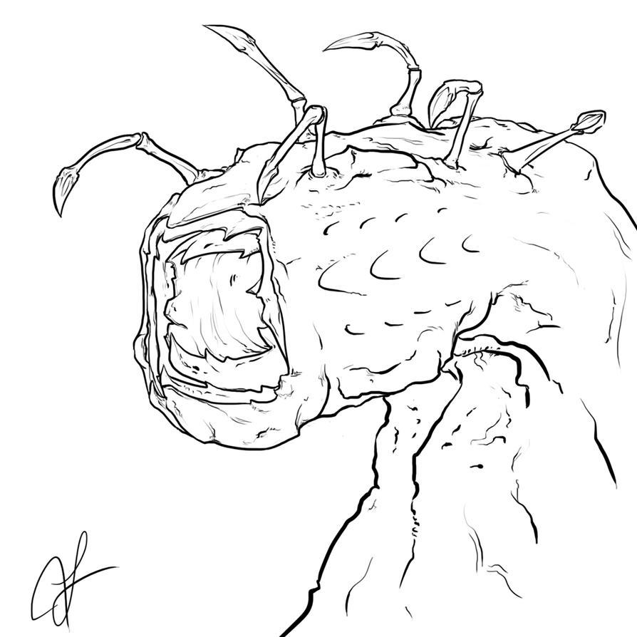 Line Drawing Monster : Random monster lineart by hammn on deviantart