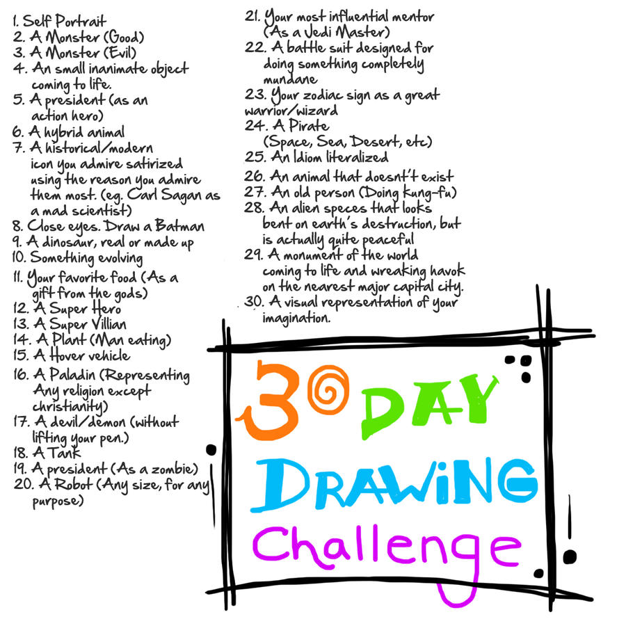 30 Day Drawing Challenge by G-Townsend