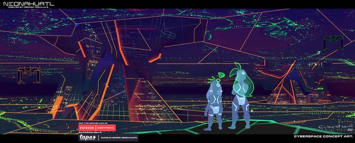 Neonahuatl Concept Art  Cyberspace 01