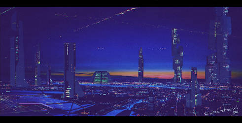 Futuristic city by Cybertrevil (low res cropped)