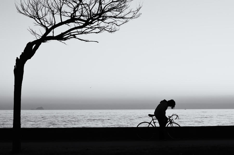 tired cyclist