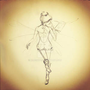 Flying Book Fairy Sketch
