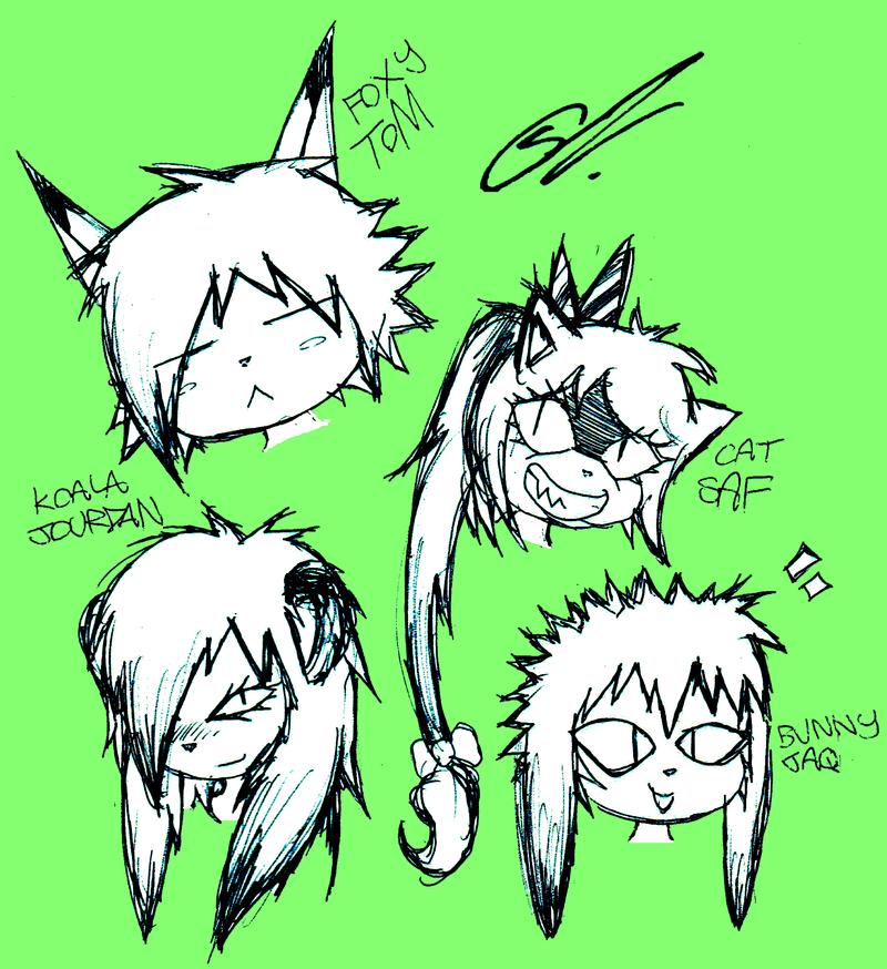 Random Head Doodles by SCIFIJACKRABBIT