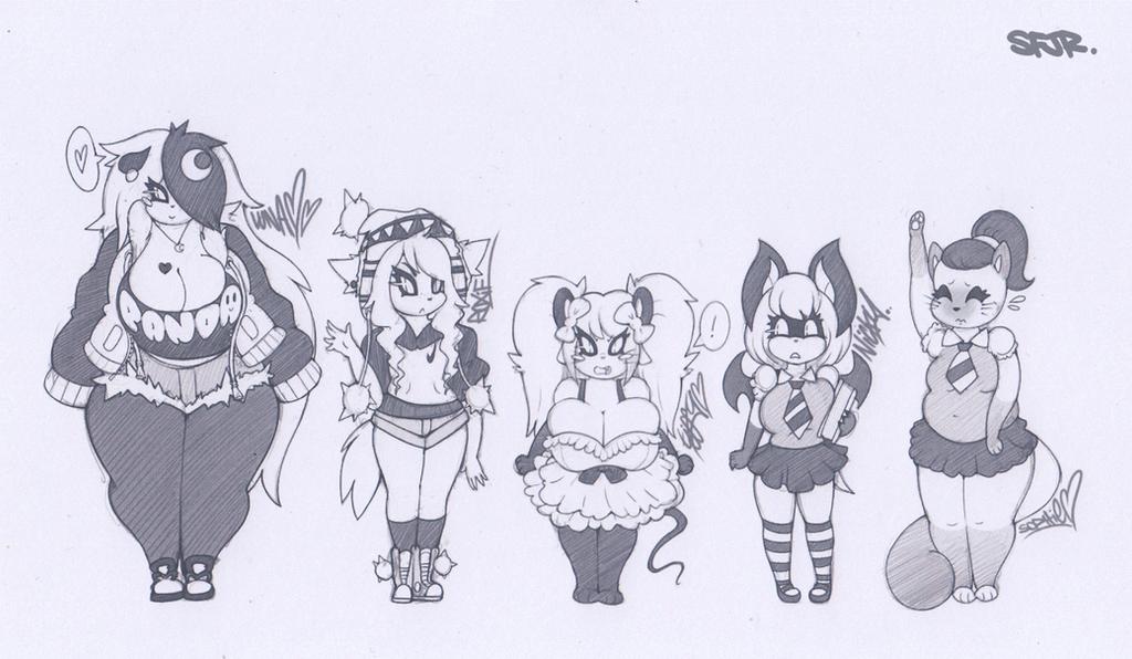 SFJR ~ Female OC lineup 1 by SCIFIJACKRABBIT