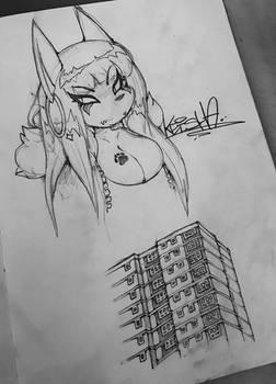 ~ Keisha x Tower Block - Pencil Sketch - CFZ 19 ~