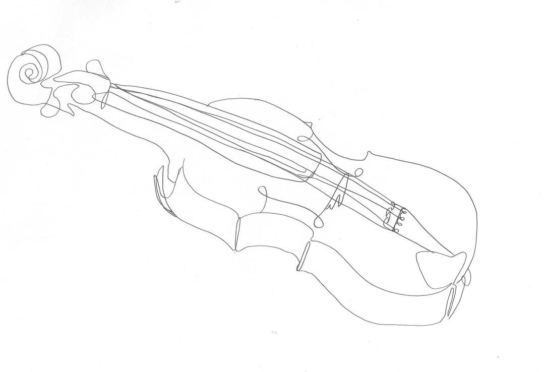 Single Line Chat Art : One line drawing violin by crazyoldwoman on deviantart