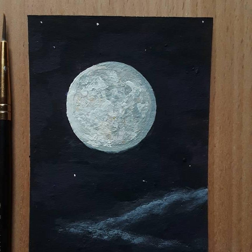 Moon Study 2018 3.5x2.5 sketch card by DavidKrawczykART