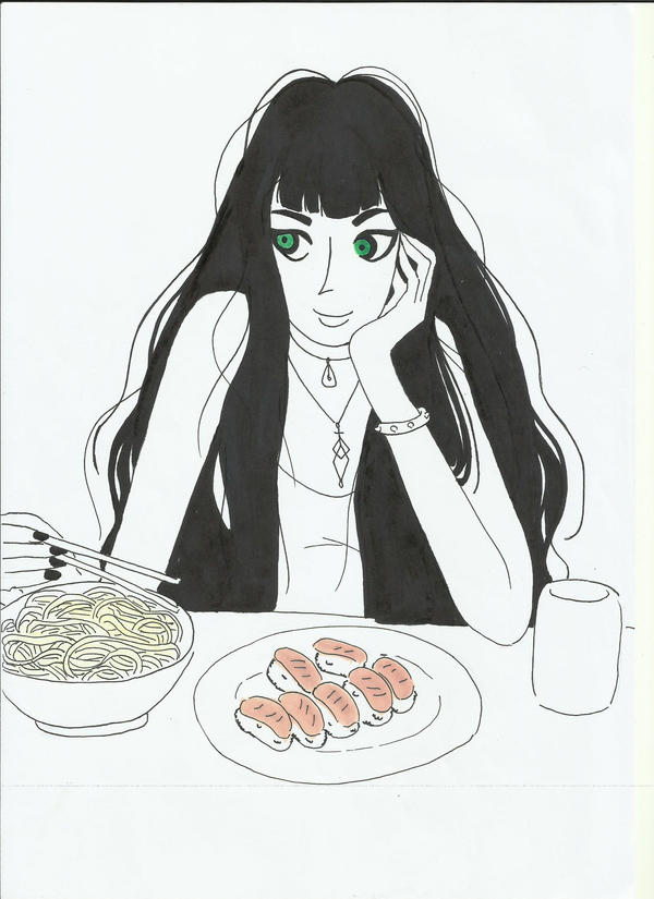 sushi and noodles by violet868