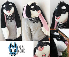 Black + White rabbit/bunny head SOLD by Made4Hugging