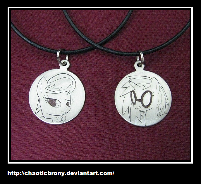 Octavia and Vinyl Scratch Engraved Pendants by SilverSlinger